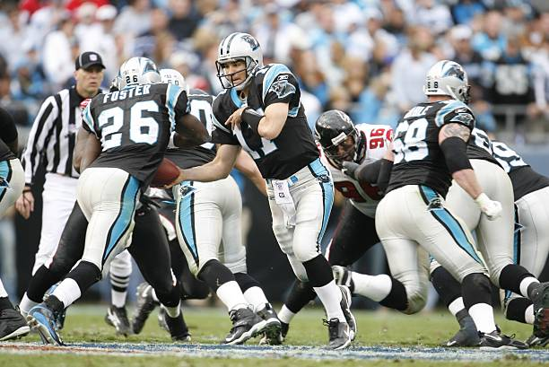 Jake Delhomme gets the gas face